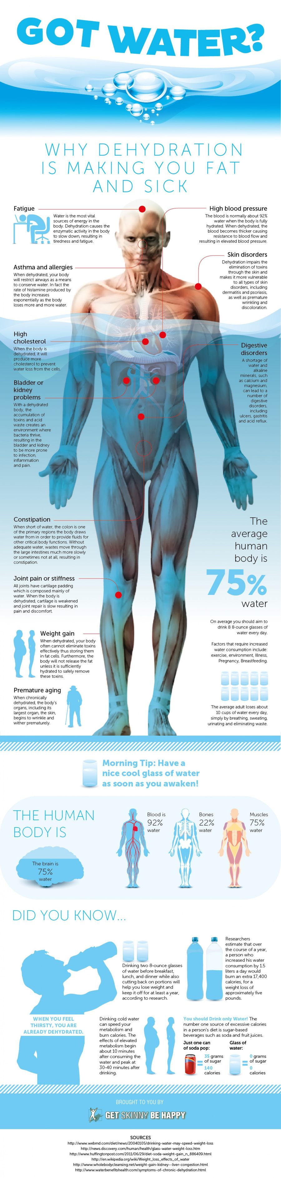 got water why dehydration is making you fat and sick infographic